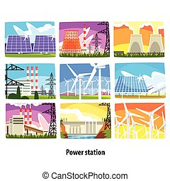 Power station set, electricity generation plants and sources