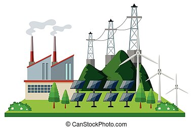 Power station with solar cell and turbines