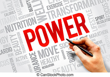 POWER word cloud, fitness, sport, health concept
