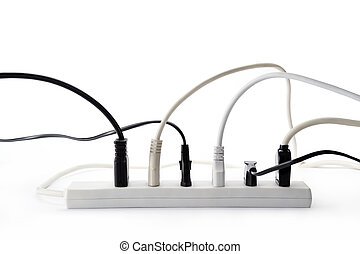 power strip with plugs inserted