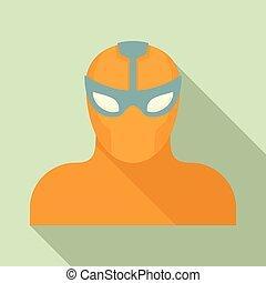 Power superhero icon, flat style
