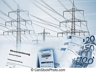 """Electricity pylons, electricity meter, money, and a document with the german word """"Stromrechnung"""" symbolizing the supply of electricity and its cost."""