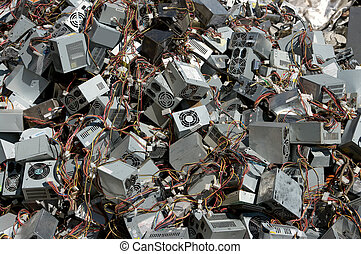 Power supply boxes - A pile of computer power supply boxes ...