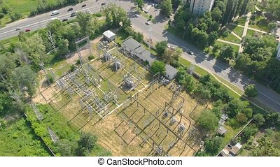 Power supply station aerial drone view