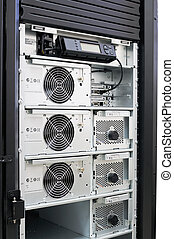 Rack mounted power supply system, open front door