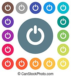 Power switch flat white icons on round color backgrounds
