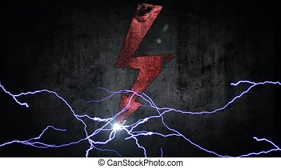 power symbol. Electrical discharges in sign. energy concept