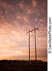 Power, telephone or Electrical lines at sunrise or sunset