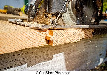 Power Tool Circular Saw - Old worn circular saw power tool...
