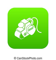 Power tool icon green isolated on white background