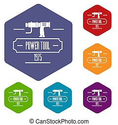 Power tool icons hexahedron - Power tool icons colorful...