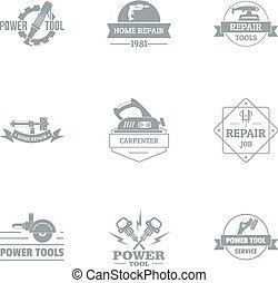 Power tool logo set, simple style