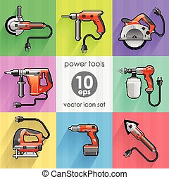 Power tool set. Vector illustration. Builder equipment