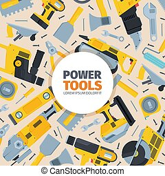 Power tools background. Yellow reversible screwdriver modern grinder black metal disk powerful cordless jigsaw construction and repair work professional hardware equipment. Vector pattern.