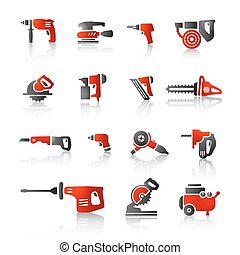 power tools icon red black - Power tools icons set. High ...