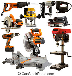 Power tool collage isolated on a white background depicting carpentry and construction tools.
