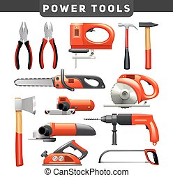 Power Tools Red Black Pictograms Collection - Electric and...