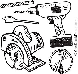 Power tools sketch - Doodle style power tools illustration ...
