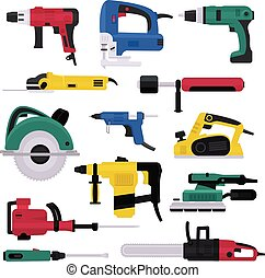 Power tools vector electrical drill and electric construction equipment power-planer grinder and circular-saw illustration machinery set of screwdriver in toolbox isolated on white background