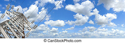 Power Tower. Panorama - Power Tower. Blue sky and clouds for...