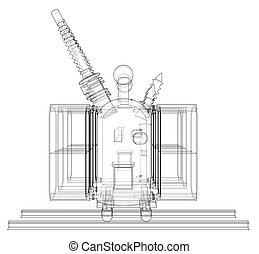 Power transformer concept. Vector rendering of 3d....
