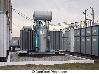 Power transformer in a distribution substation separated...