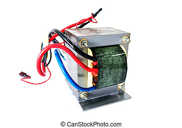 Power transformers on white background.