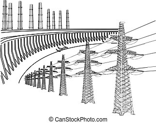 Power Transmission Line. Dnieper hydro power plant. Thermal ...