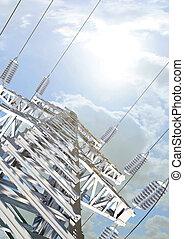 Power Transmission Line. High-voltage tower sky background. 3d render