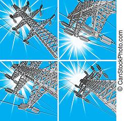Power Transmission Line, vector illustration, set
