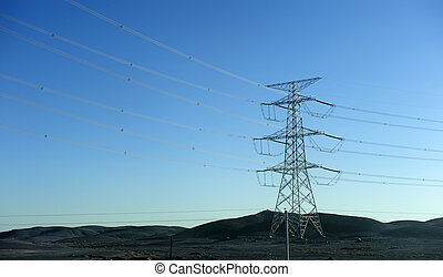 power transmission tower in the Gobi Desert