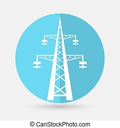 Power transmission tower on a white background - Power...