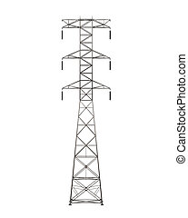 Power Transmission Tower isolated on white background. 3D...