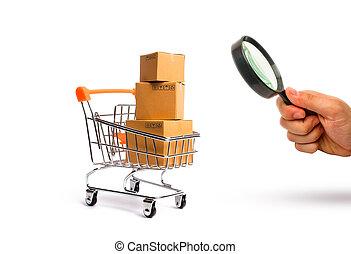 power., turnover., concept, merchandise:, magnifier, achat, commercer, regarder verre, vente, supermarché, charrette, marchandises, importation, boîtes, exportation, achat, services