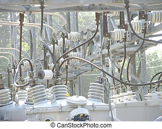 power up - closeup of a power transformer