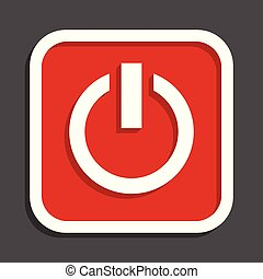 Power vector icon. Flat design square internet red button.