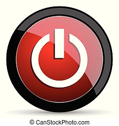 Power vector icon. Modern design red and black glossy web and mobile applications button in eps 10