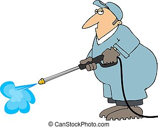Power Wash - This illustration depicts a worker using a high...