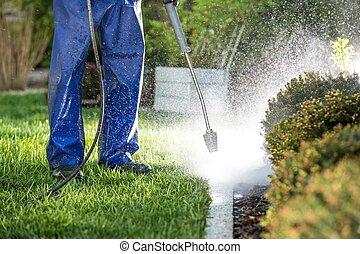 Power Washing Garden Elements