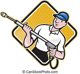 Power Washing Pressure Water Blaster Worker - Illustration...