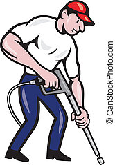Illustration of a worker with water blaster pressure power washing sprayer spraying set inside circle done in cartoon style.