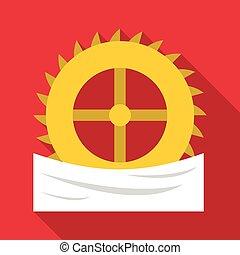 Power wheel icon, flat style