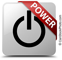 Power white square button red ribbon in corner