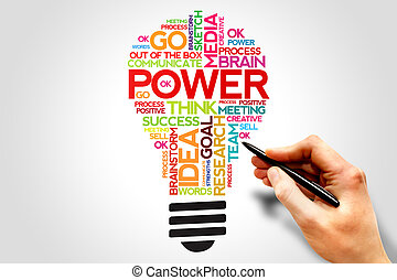 POWER word cloud bulb, business concept