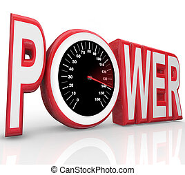 The word Power with a speedometer in the letter O representing powerful energy and speed racing to complete a challenge or win a race or competition