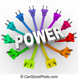 Power - Word Surrounded by Plugs - The word power surrounded...