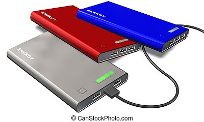 powerbank different colours with charging cables - isolated on white background