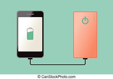 powerbank - Smartphone charging connect to powerbank, vector...