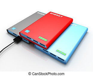 powerbank with charging cable . 3d rendered illustration