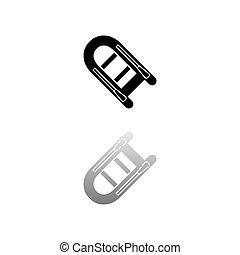 Powerboat icon flat - Powerboat. Black symbol on white ...